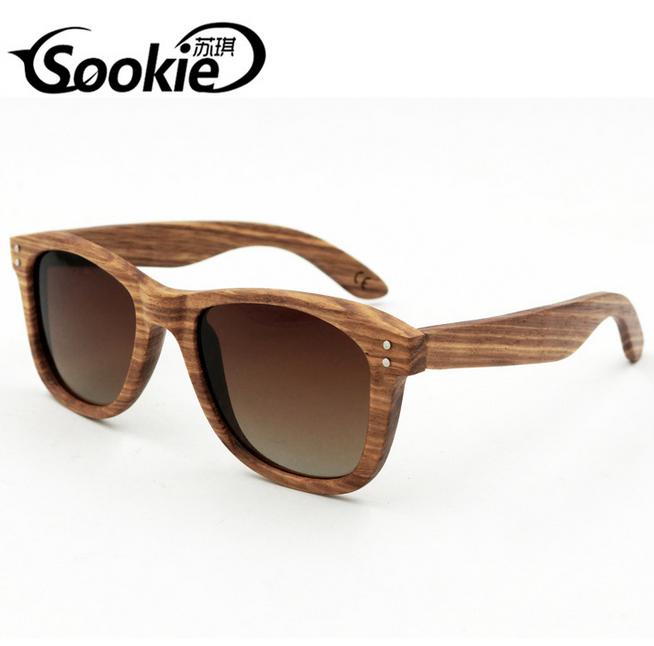 4104763c6 SOOKIE Unisex Handmade Zebra Wood Polarized Sunglasses Retro Wooden Glasses