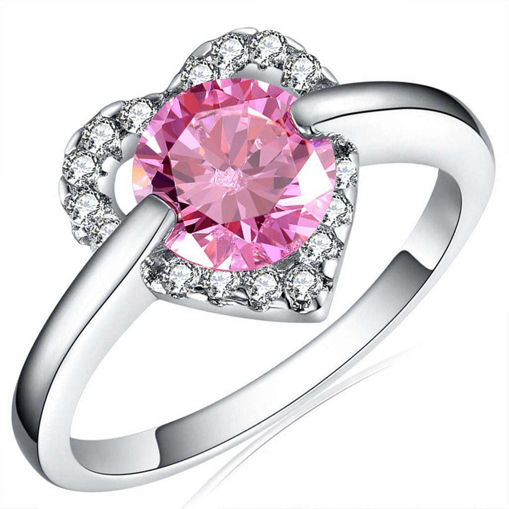 18K White Gold GP Fashion Heart Crystal Wedding Ring Lady Statement ...