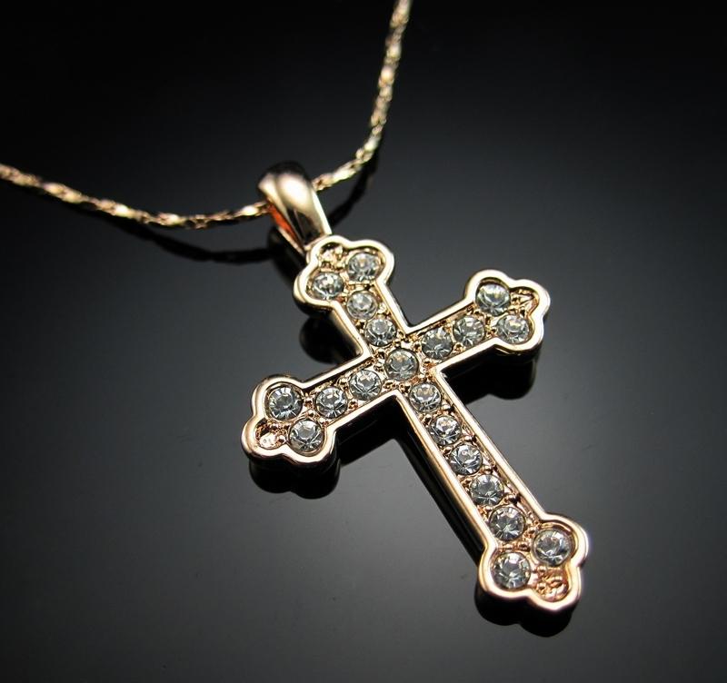 Unisex-Cross-Chain-18K-Rose-Gold-GP-Charm-Crystal-Valentine-Necklace-Pendant thumbnail 15