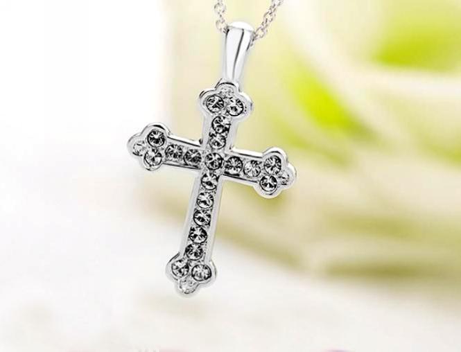 Unisex-Cross-Chain-18K-Rose-Gold-GP-Charm-Crystal-Valentine-Necklace-Pendant thumbnail 26