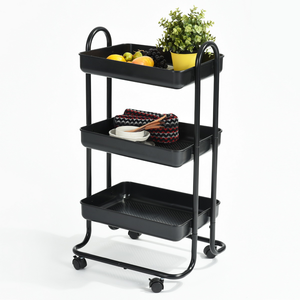 3 Tiers Black Kitchen Trolley Serving Island Hostess Serving Cart ...