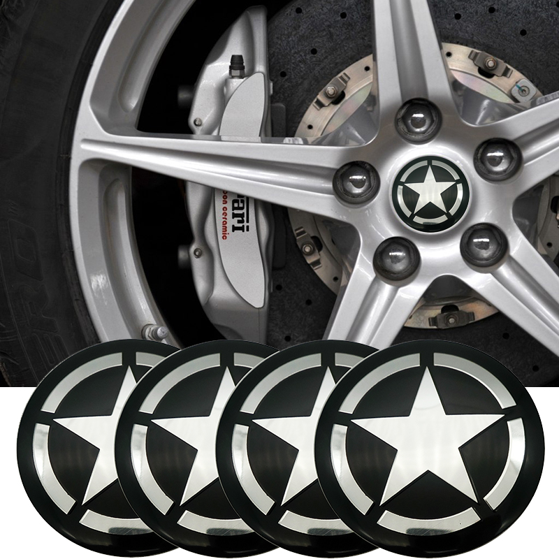 56mm Car Tire Wheel Center Caps Decal Stickers Emblems Fit FORD MUSTANG Silver