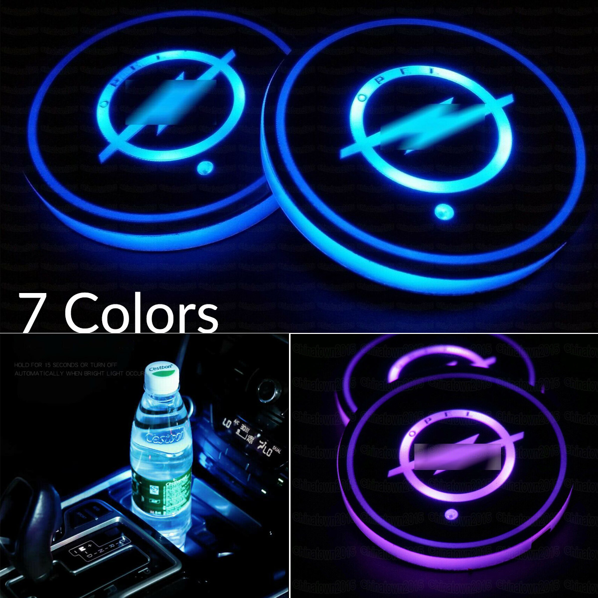 LIMIAND LED Car Logo Cup Holder Pad Back Seat Cup Holders Built-in Vibration /& Light Sensor Automatically Turn On at Dark