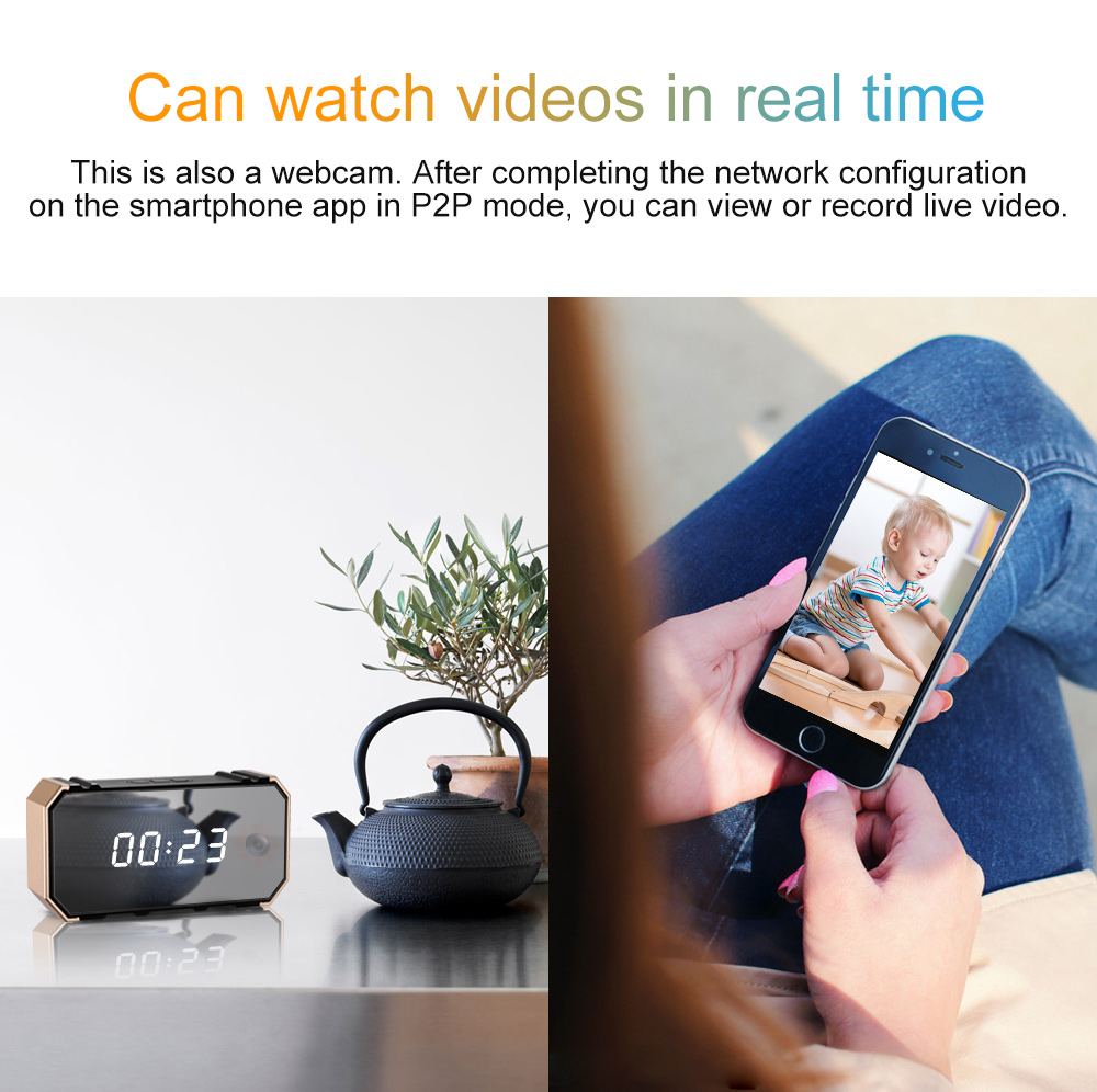 Details about H12 UHD 4K WiFi Mirror Alarm Clock Camera Security IP Cam  Night Vision Recorder