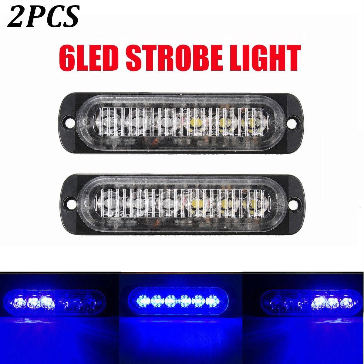 6x 12-24V Car Truck Emergency Beacon Warning Hazard Flash Strobe Light Blue 8LED