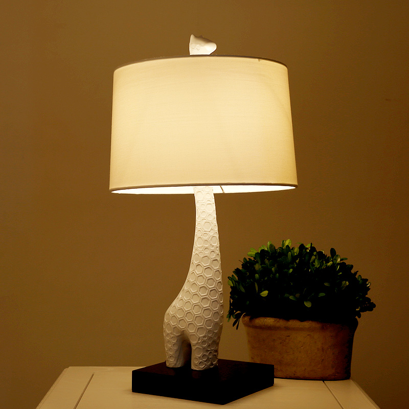 Details about Modern Style Giraffe Shade Table Lamp Bedroom Desk Light  White Home Decor Lights