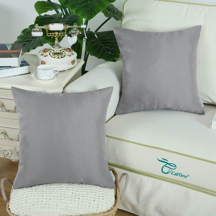 Pack-of-2-CaliTime-Throw-Pillow-Covers-Cases-Faux-Linen-Chevron-Striped-45-X45cm