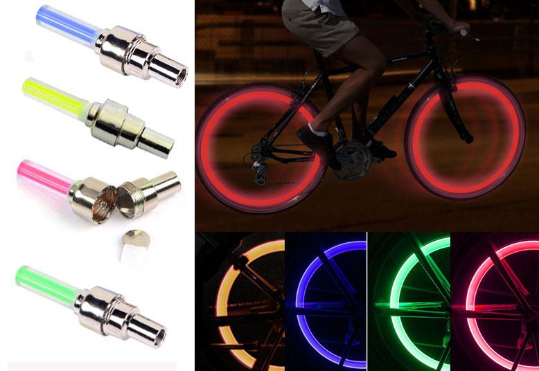 4pcs Wheel Tire Light Spoke Lamp Blue LED Valve Cap Bicycle Cycling Bike Motor