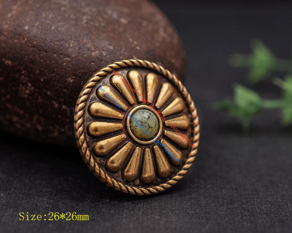 6X Antique Copper Beauty Southeast Tribal Flower Leathercraft Belt Bag Concho