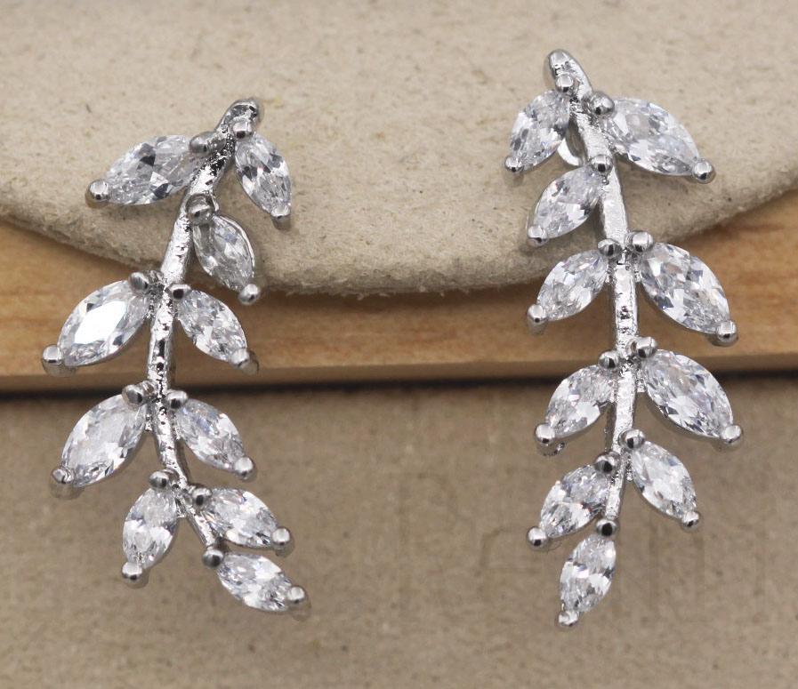 18K Yellow Gold Filled 1.2/'/' Leaf White Topaz Zircon Party Gems Lady Earrings