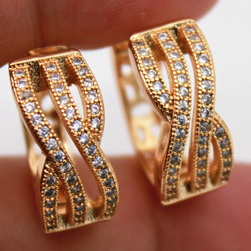 18K White Gold Filled Zircon Pearl Gemstone Topaz  Pageant Women Hoop Earrings