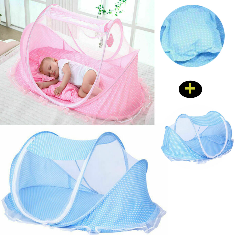 Baby Bed Backpack,Foldable Newborn Baby Travel Cot Bassinets Mosquito Net Sleeping Basket with Toys,Blue