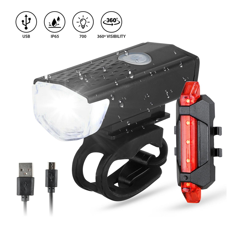 LED Fahrradbeleuchtung Set Fahrradlicht USB Fahrad Scheinwerfer Rücklicht Lampe