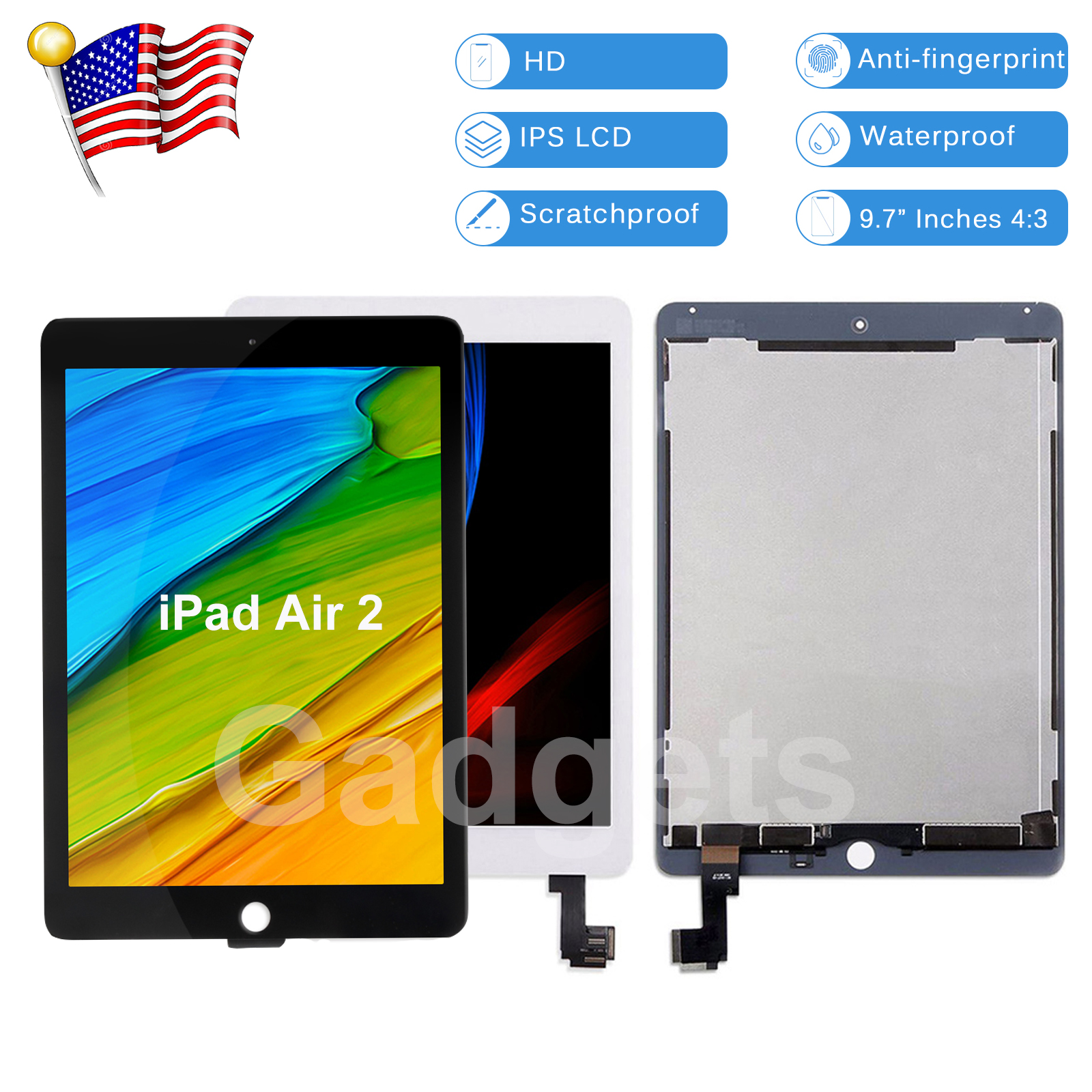 Details about For iPad Air 2 A1566 A1567 LCD Digitizer Touch Screen  Assembly Replacement USA