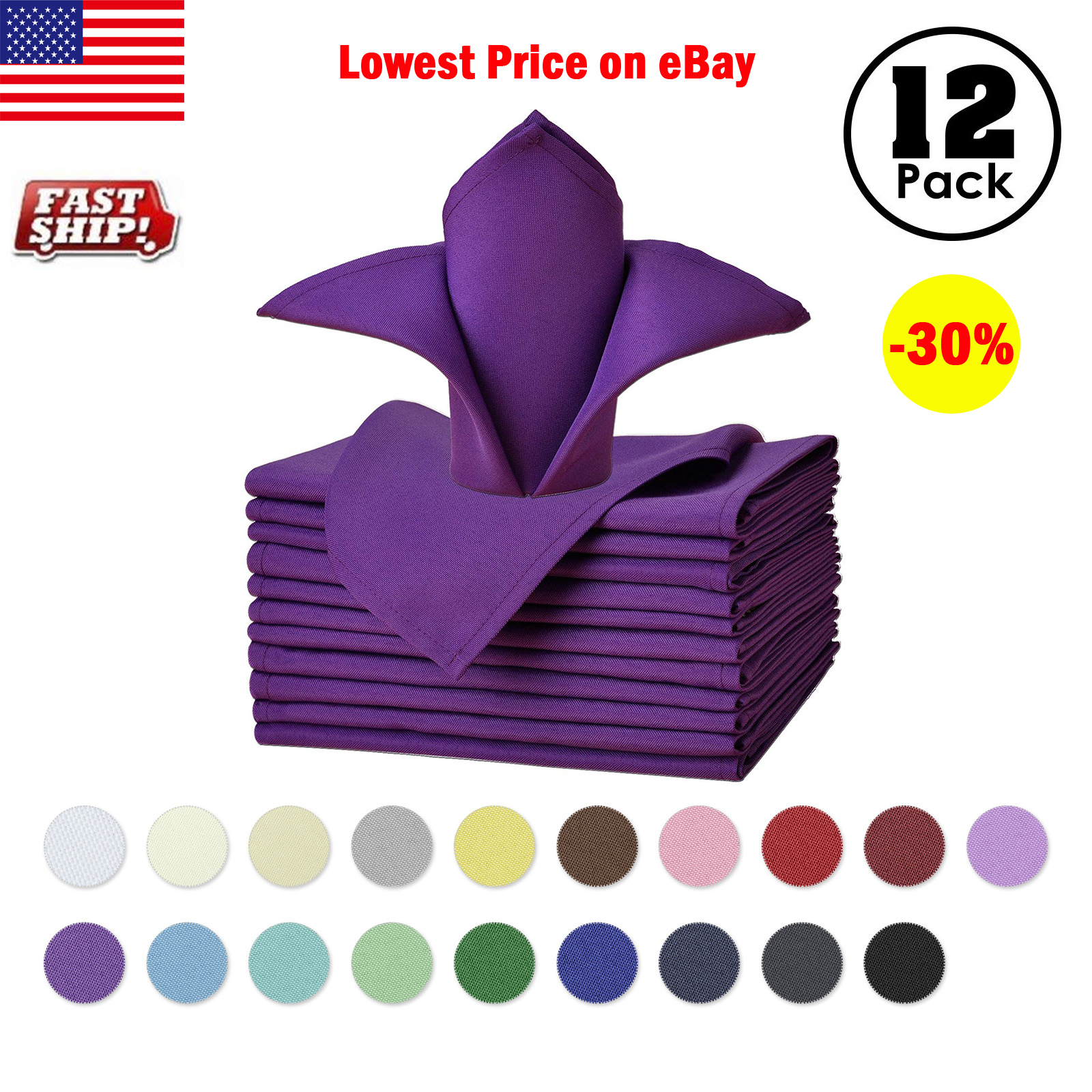 """25-Pack 17/"""" Square Polyester Cloth Linen Table Party Wedding Dinner Napkins"""
