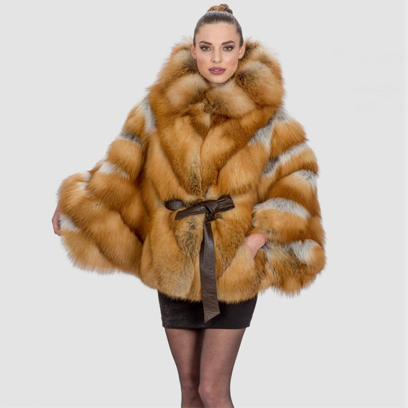 619e8dc17b Details about Women 100% Full Pelt Skin Real Red Fox Fur Coat Jacket Hooded  Cape Poncho Belted
