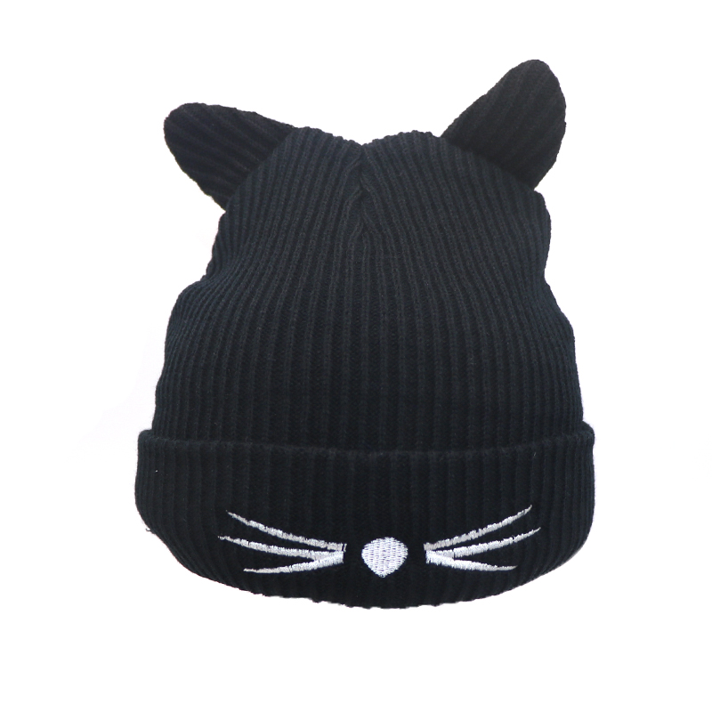 Details about Cute Winter Knitted Hats Women Beanie Lady Knit Hat Ski  Slouch Cap Warm Cat Ears 688ddeb74
