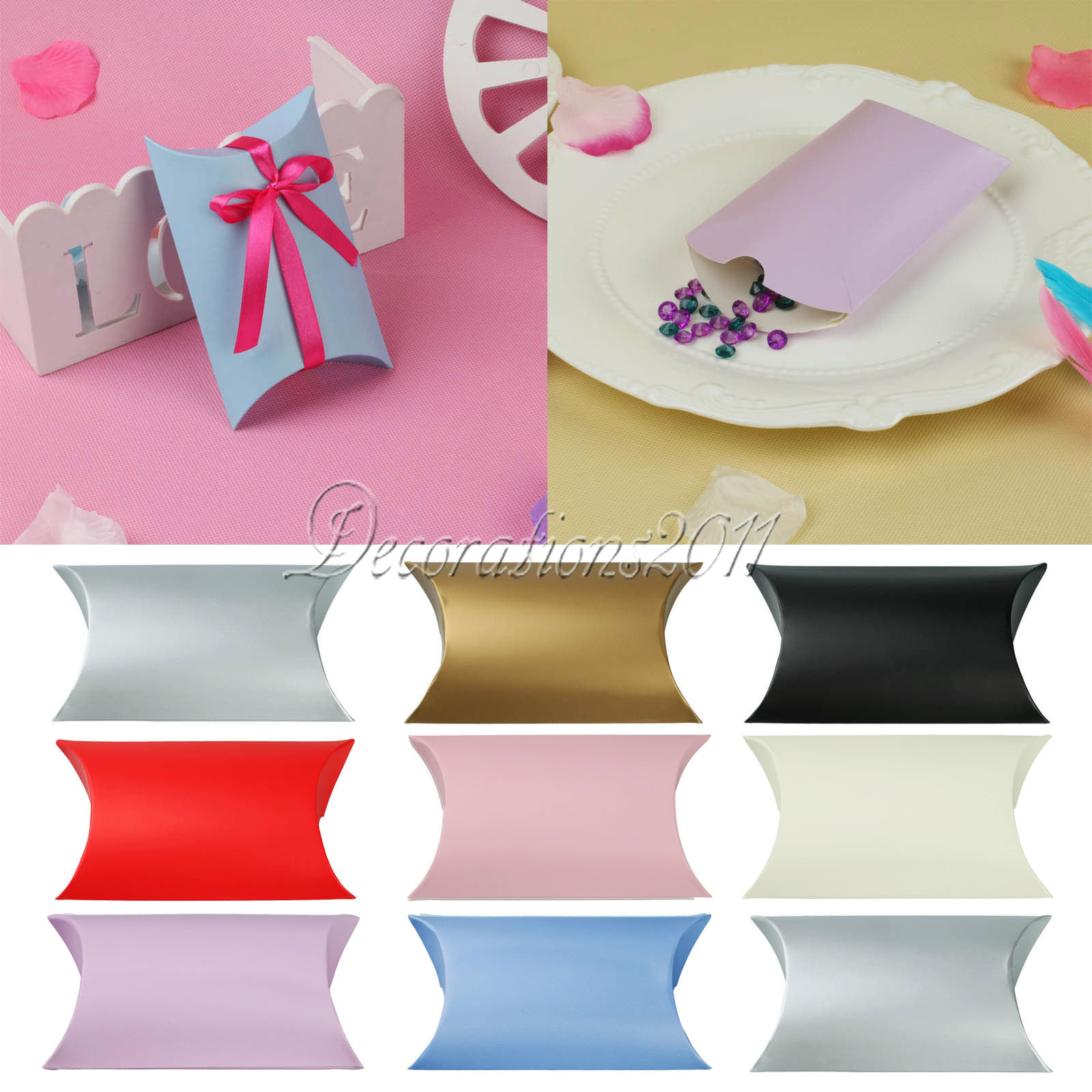 9Colors Paperboard Pillow Candy Box Gift 9 x13 x 3.5cm Wedding ...