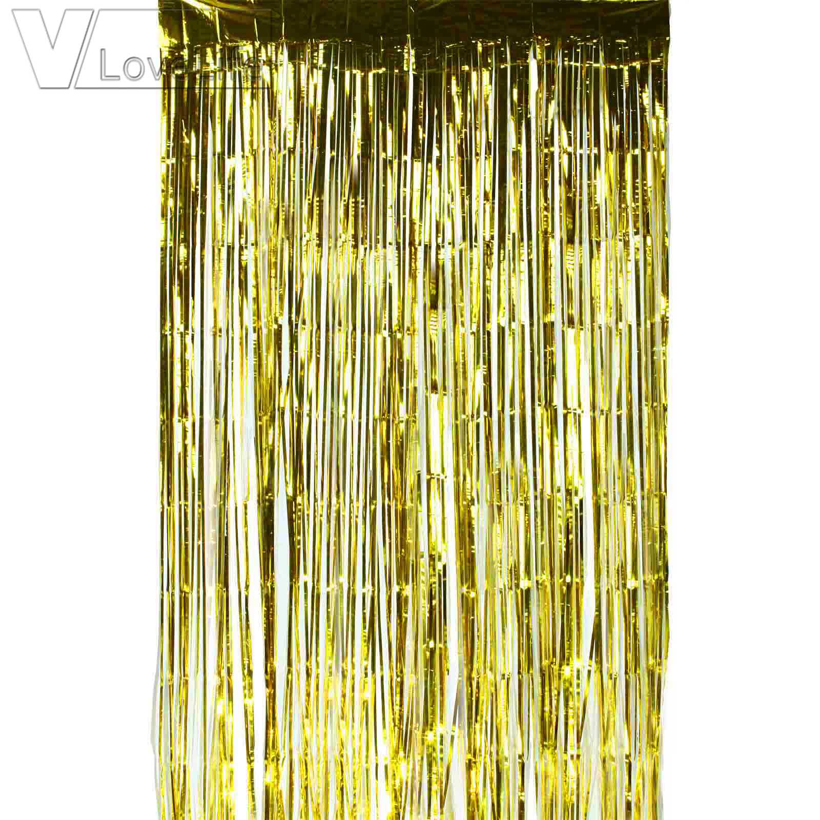 curtain curtains fringe products metallic foil