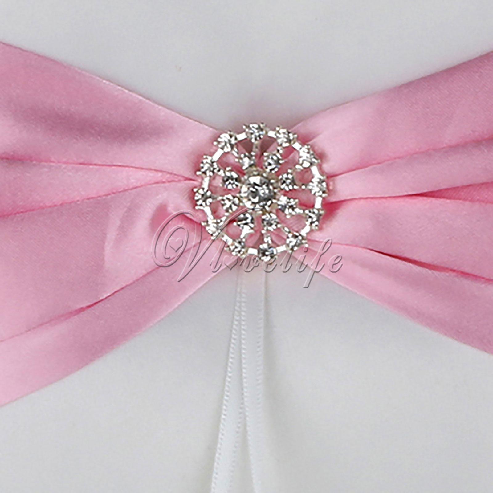 Wedding Ceremoney Bridal Ribbon Satin Ring Pillow Rhinestone Buckle ...