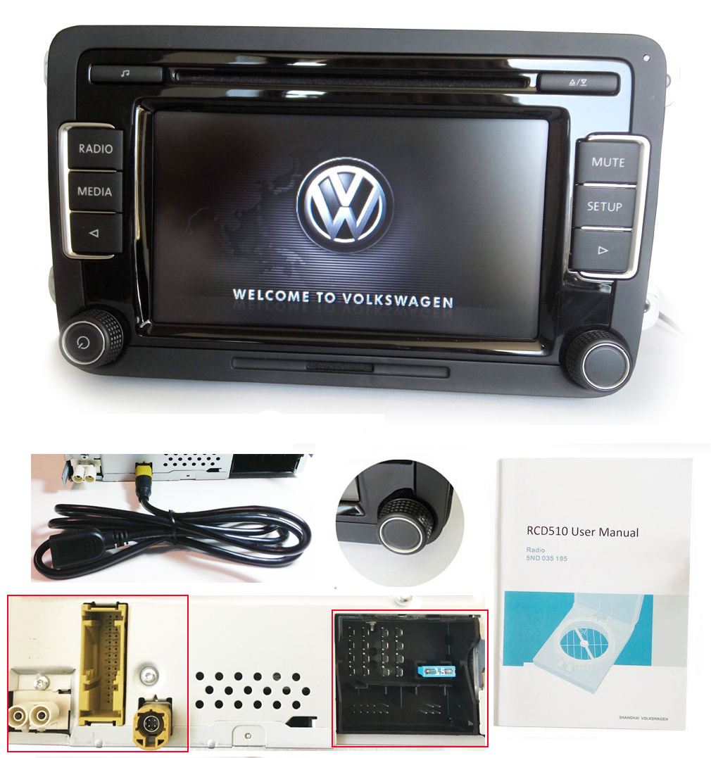 VW Autoradio RCD510 MIT RVC USB-Kabel RFK AUX MP3 GOLF PASSAT POLO ...