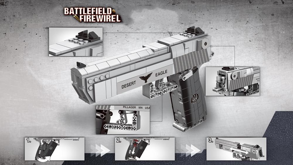 Details about  /528pcs Desert Eagle Pistol Building Blocks Kids Toy Gun Blocks Can Fire Bullets