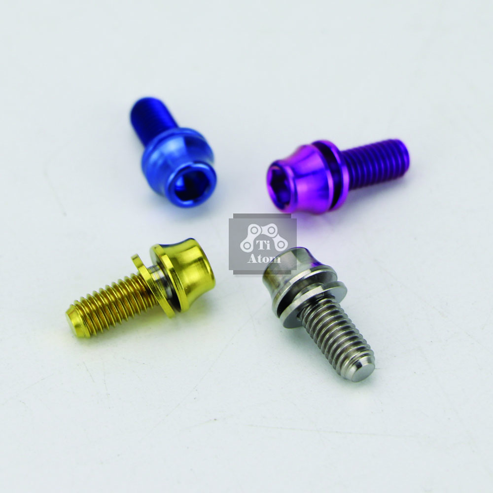 Ti Atom 2pcs Titanium Water Bottle Cage Bolts with Gaskets M5x12mm Ti Screws