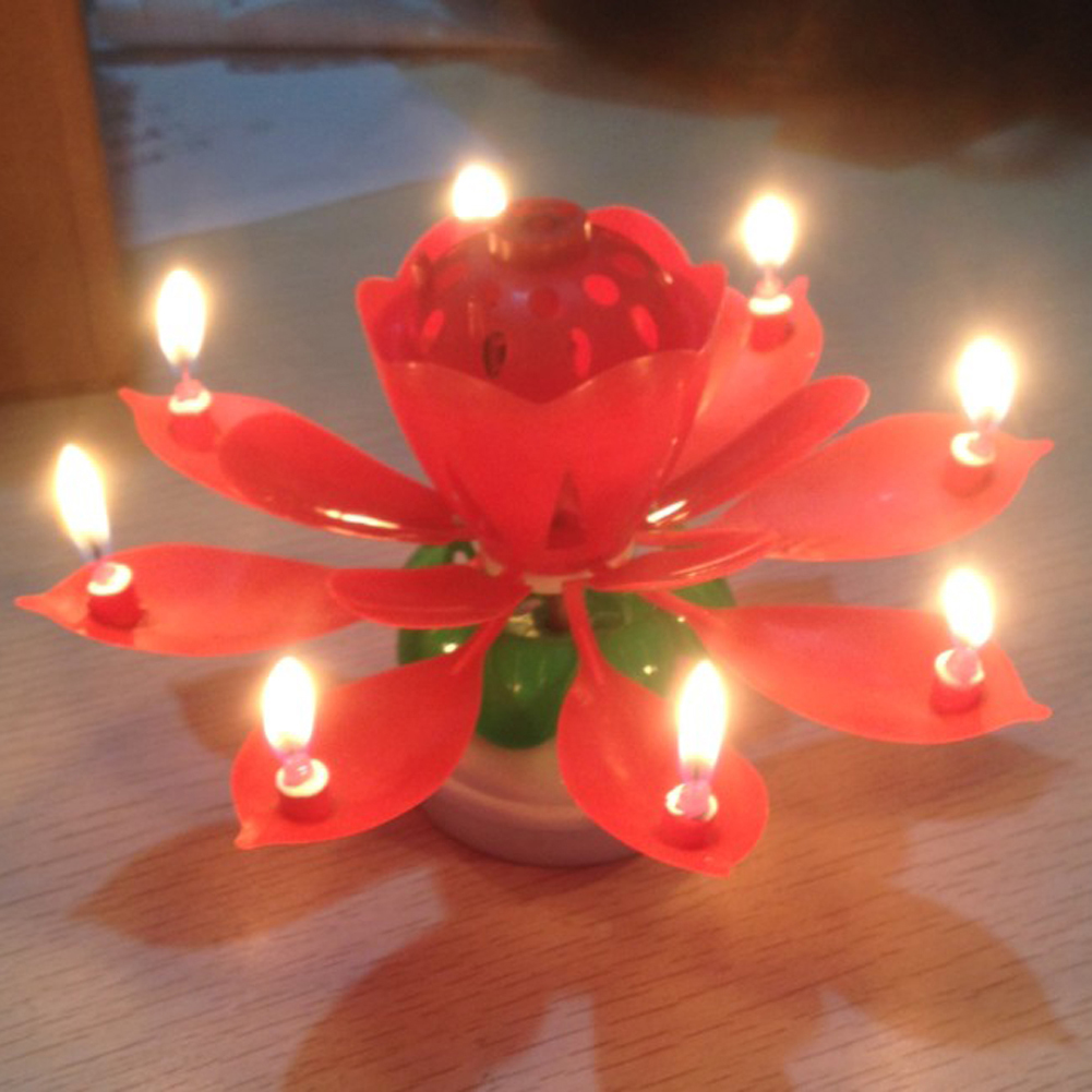 4pack Birthday Candles Cake Topper Lotus Flower Candle Music Candle