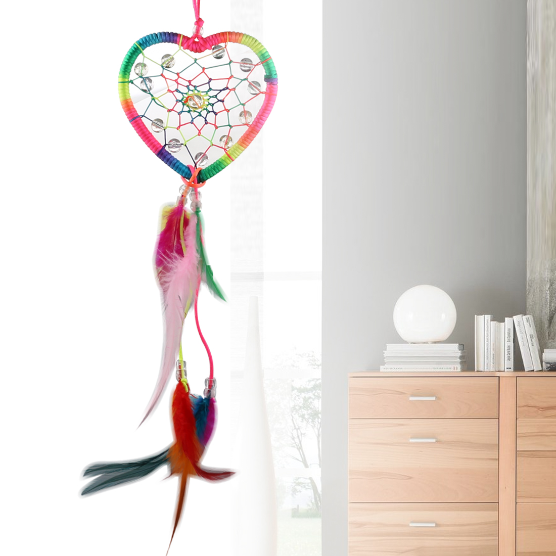 Heart Shape Dream Catcher Rainbow Color Car Ornament Wall Hanging Decoration