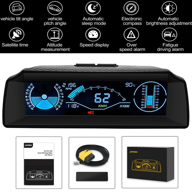vehicle tilt//pitch angle Time Altitude Digital Inclinometer Alarm Speed MPH KM//h Voltage with HD LCD Head Display for 12V OBDII Diesel /& Gasoline Vehicles Direction X90 GPS Speed Slope Meter