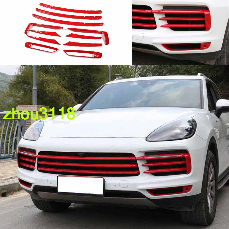 11 Red Abs Front Grille Fog Lamp Garnish Strip Kit For Porsche Cayenne 2019 2020 Ebay