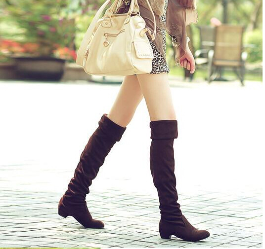 f02f5c0ffd6 Sexy Women Boots Autumn Winter Ladies Fashion Flat Over Knee Long Boots  Shoes