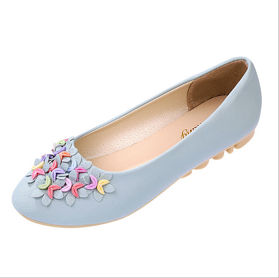 New Women Lady Boat Shoes Casual Flat Flower Slip On Flats Loafers Single Shoes