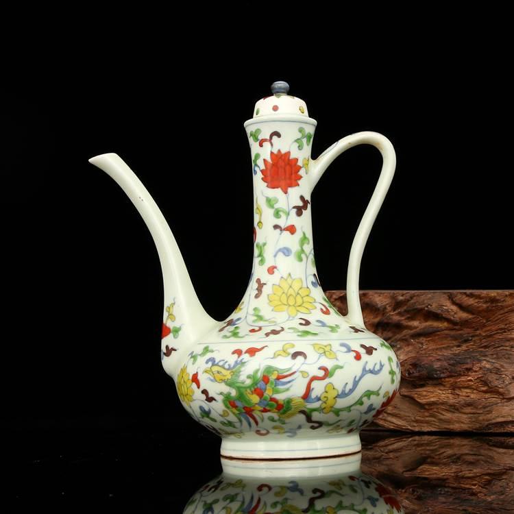 China old porcelain Ming chenghua blue white painting Phoenix tian lid jar pot