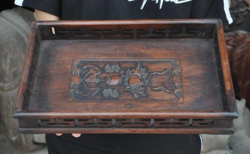 Old Chinese Huanghuali Wood Phoenix Bird Statue Food Tea Dish Plate Tray Salver