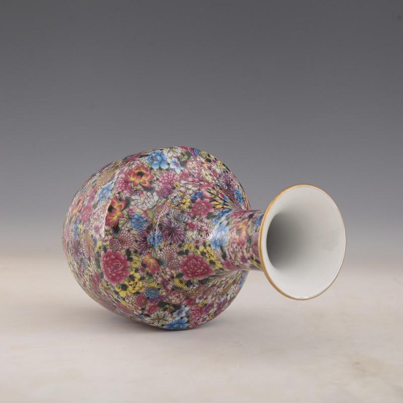 "10/""China antique Porcelain Qing Yongzheng famille rose flowers Gilt Mallet Vase"