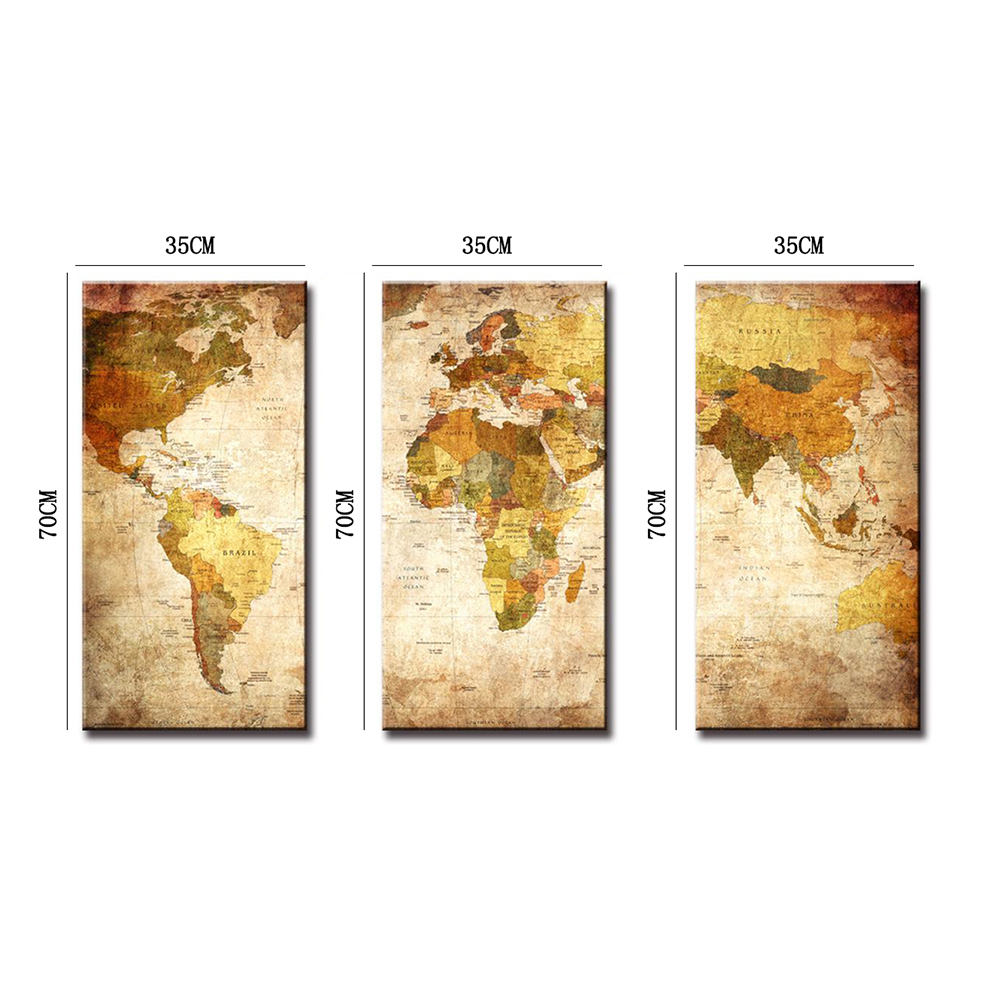 3 Panel Modern Oil Painting World Map Wall Picture Unframed Canvas ...