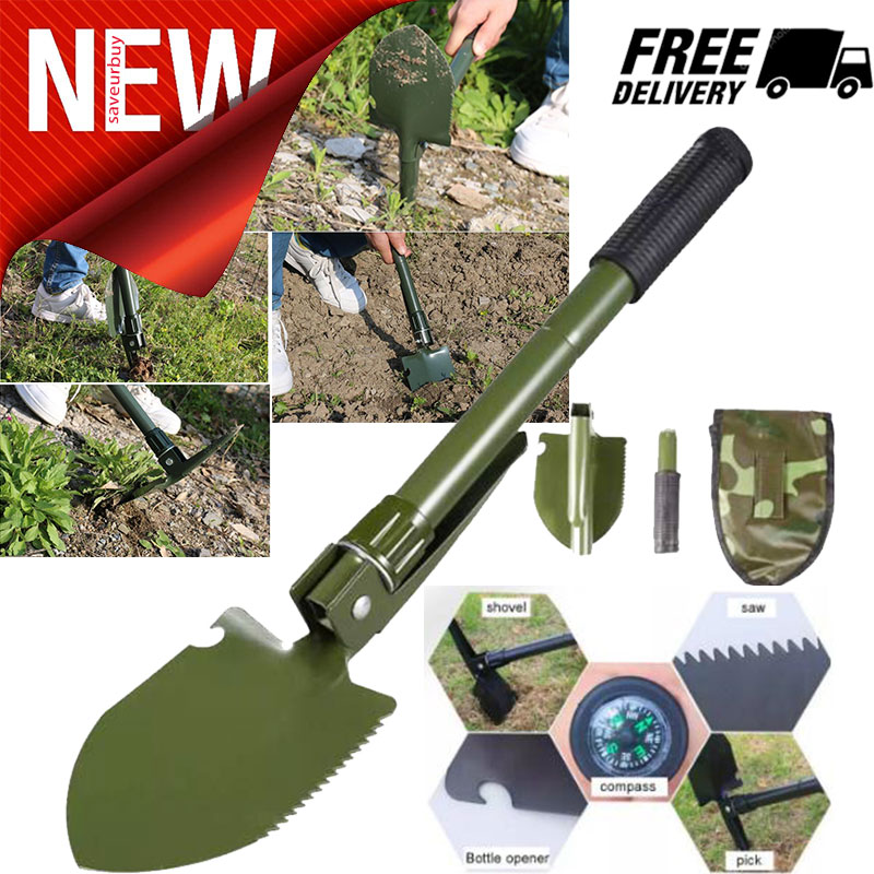 A Must Have for Campers Mini Folding Pick Shovel with Compass and a Carry Case
