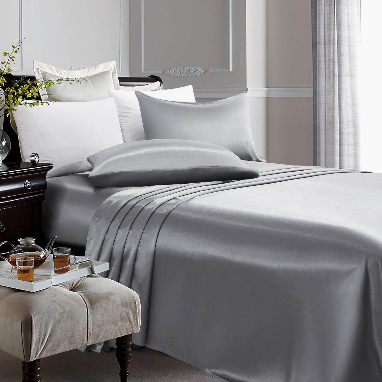 4 Piece Satin Silky Bed Sheet Set Full Queen King Super Soft Deep Pocket  Grey