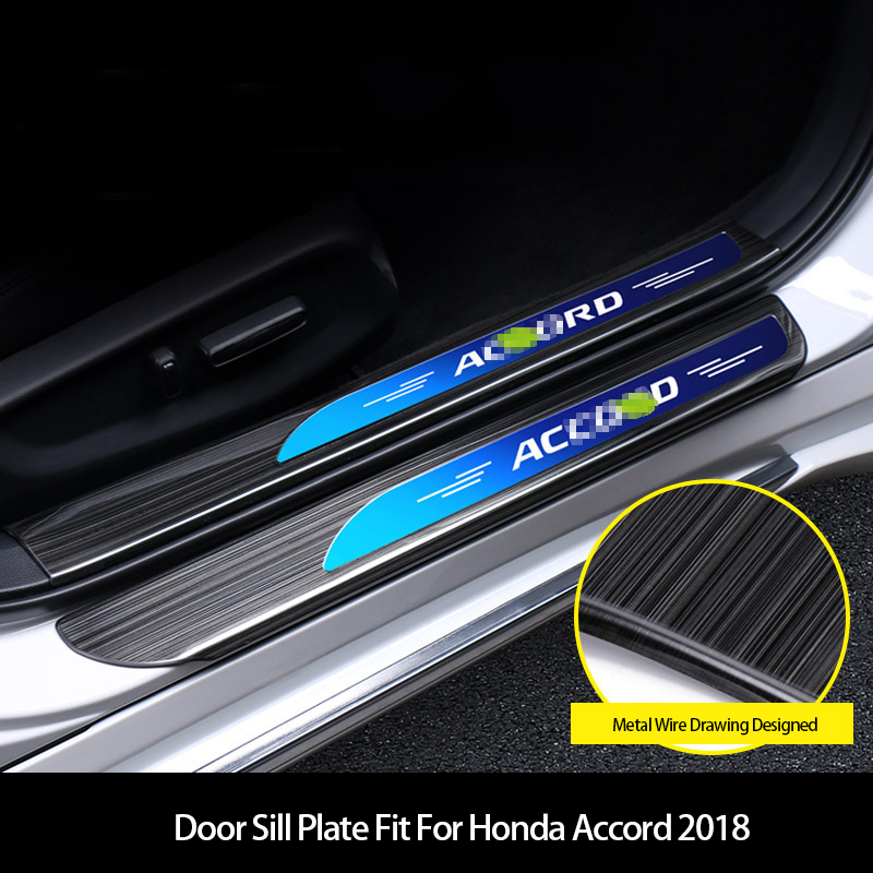 For Honda Accord 2018 2019 Chrome Steel Door Sill Scuff Plate Guards Protector