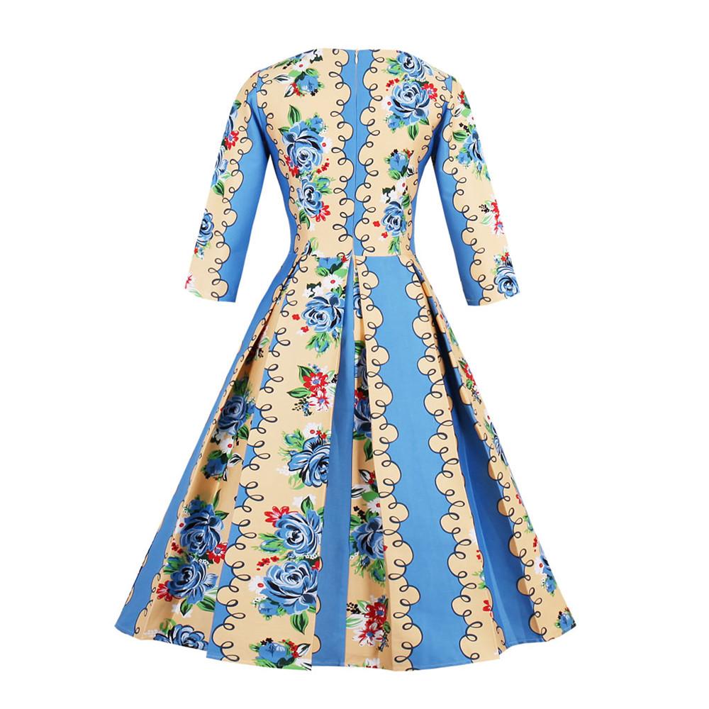Women Retro Hepburn Style 50s Vintage Dresses 3/4 Sleeve Rockabilly ...