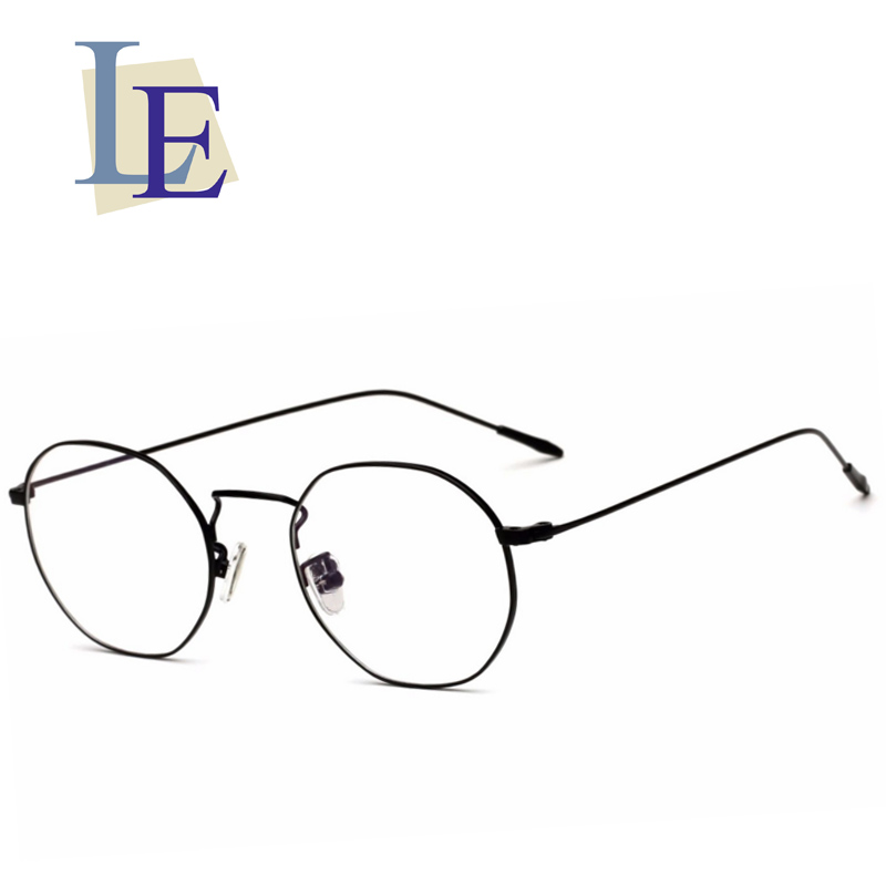LE Men Women Polygon Round Metal Glasses Frames Optical Prescription ...