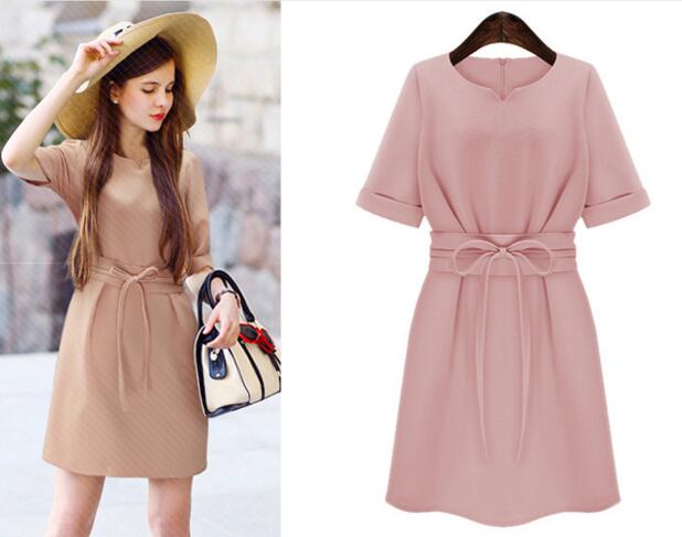 Details About Le Women S Korea Summer Chiffon Belted Pink Wedding Guest Formal Work Mini Dress