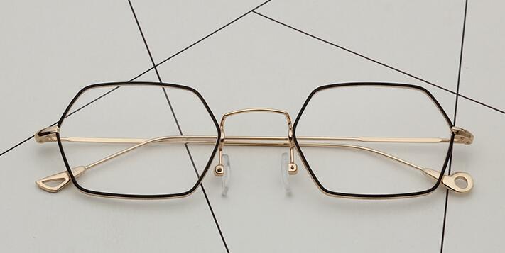 7aeef080f4 LE Hippie Punk Geometric Prescription Eyeglass Frames Hexagon Myopia  Glasses Rx