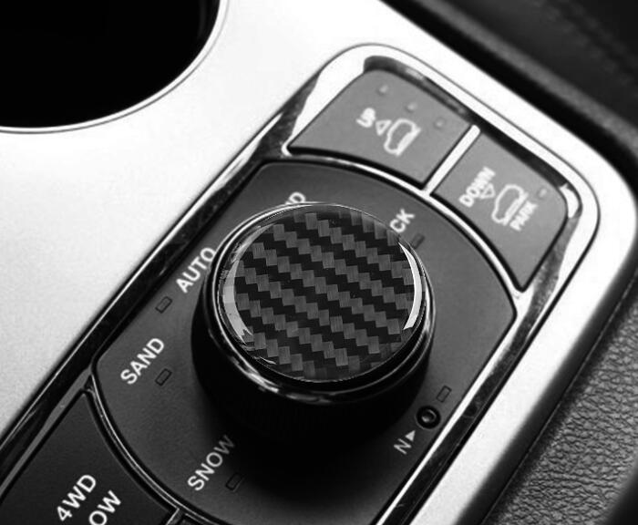 Carbon Fiber Inner Multimedia Knob Cover Trim For Jeep Grand Cherokee 2011-2018