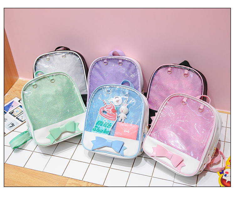 f29175b8b Details about 6 Colors CLEAR ita bag Transparent itabag Pin Display  Backpack school bags New