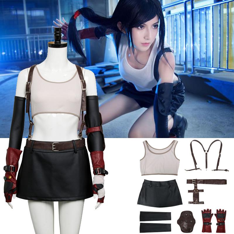Details About Final Fantasy Vii Remake Tifa Lockhart Strap Skirt Cosplay Costume Full Set