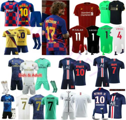 NEW 19//20 Soccer 3-14 Years Football Short Sleeve Kids Boys Jersey Kit /& Socks