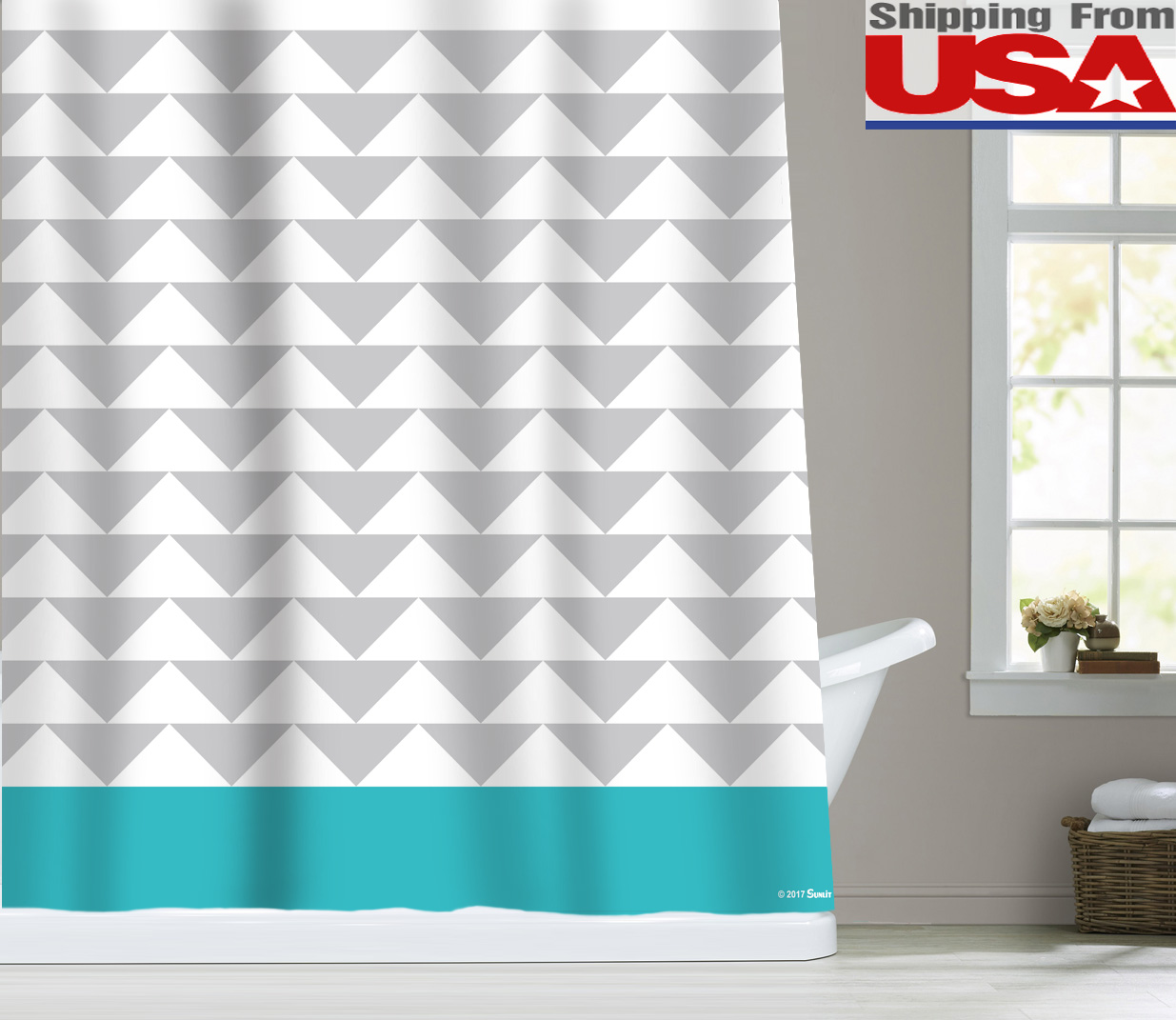 Stripes Chevron Triangle Waterproof Fabric Bathroom Shower Curtain ...