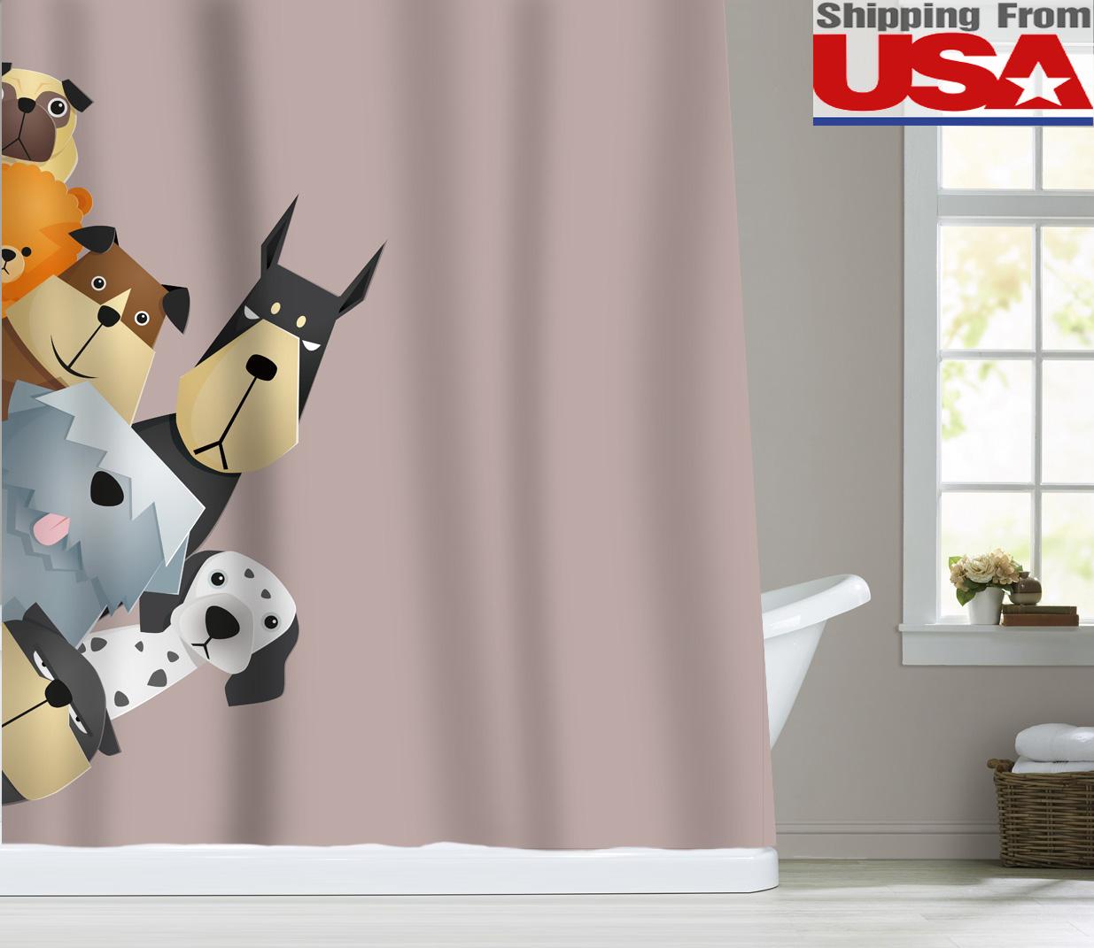 Fabric Animal Dog Cat Kid Shower Curtain Set Bathroom Bathtub Decor Hook Hanger